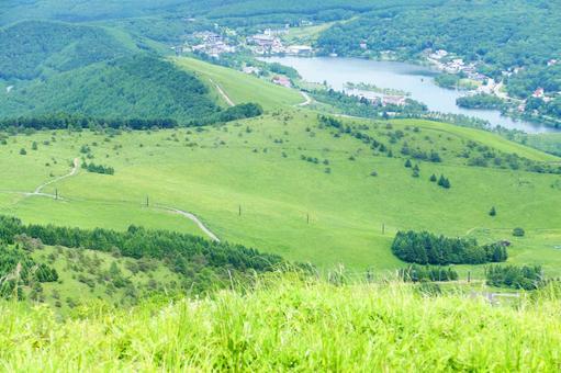 Overlooking Shirakaba Lake from the mountain
