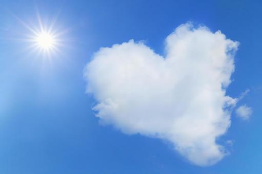Heart type cloud and sun