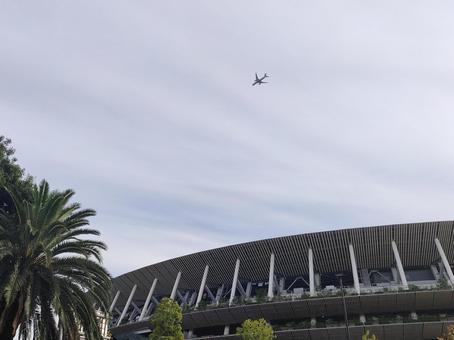 New National Stadium and Jet Aircraft