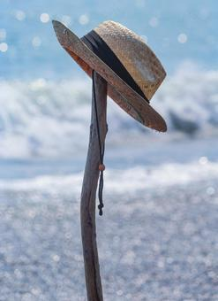 Beach and straw hat
