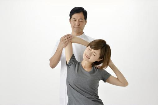 A gangster stretching aside a woman