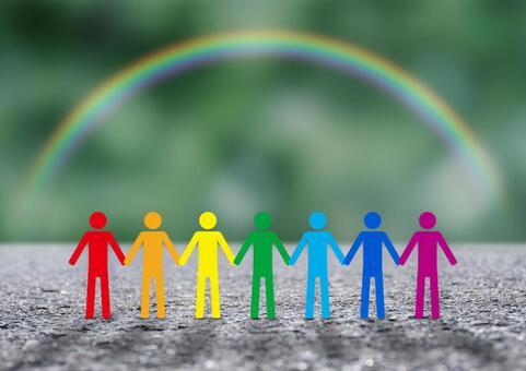 Image of rainbow and teamwork