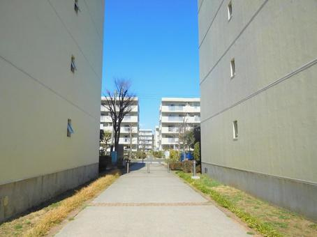 Housing complex and blue sky