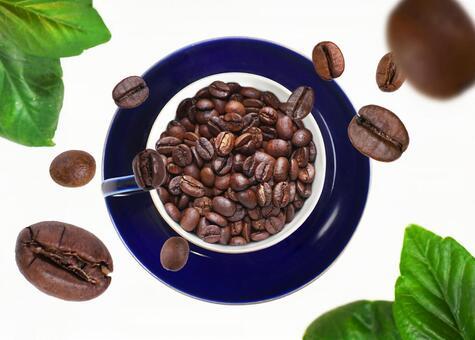 커피 내리는 커피 콩 (콩 시선 잎 세트)