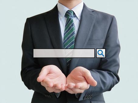 Let's take SEO measures! Businessman-blue background
