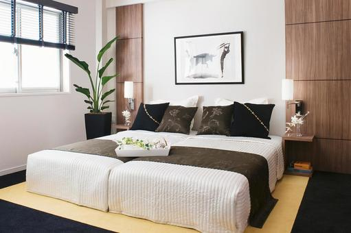 Bedroom with stylish accent colors