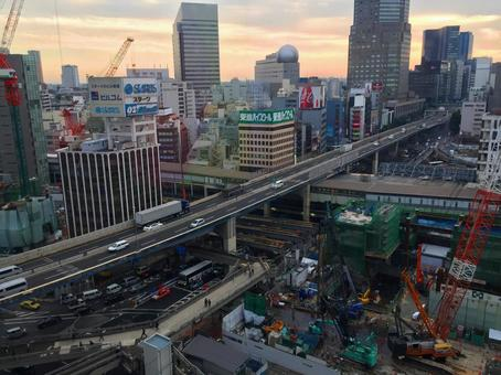 Shibuya station front redevelopment work