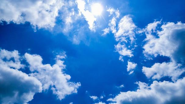 Sky light blue sky clouds and shining sun background wallpaper image