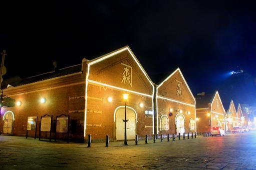 Kanamori brick warehouse at night