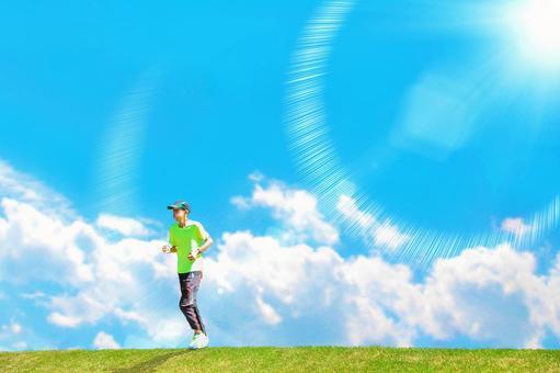 A runner running on a hill