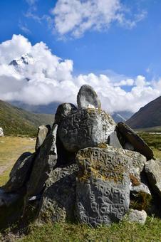 Ama Dablam and Mani stones from Pheriche to Tukra, Nepal