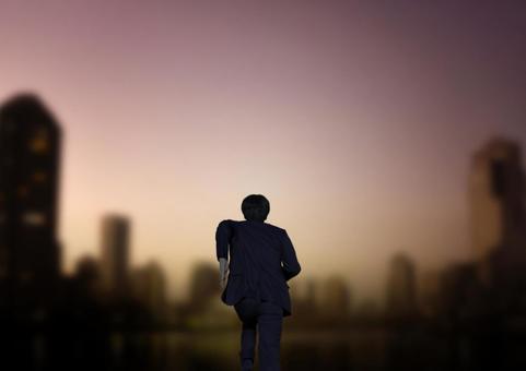 앞을 목표로 사업과 새벽의 거리 풍경
