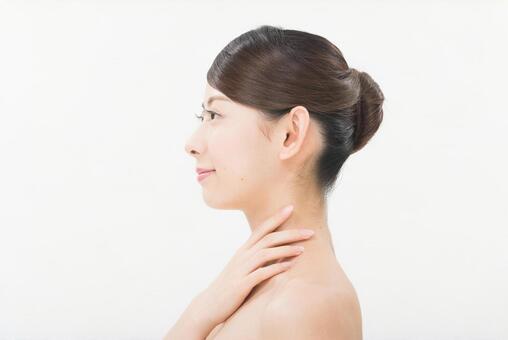 Women touching the neck 3