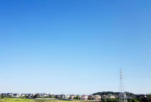 Suburban residential area and blue sky