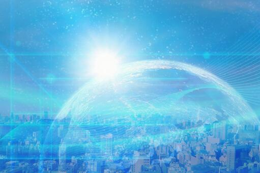 Earth, network and business district image background material