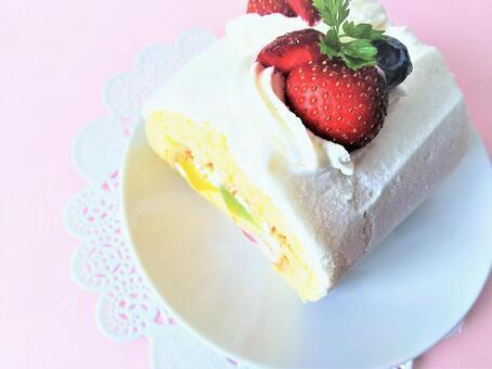 Large strawberry roll cake