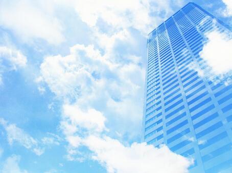 하늘에 우뚝 솟은 고층 빌딩