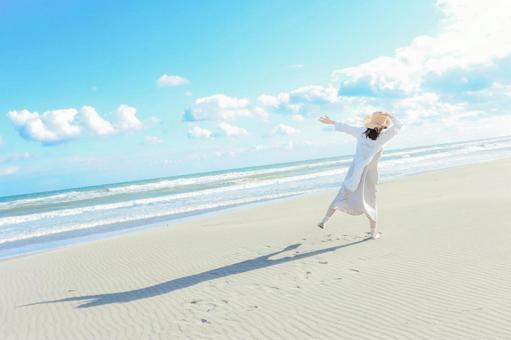 Transparent blue sea and women