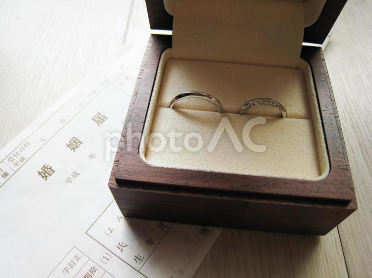 婚姻届と結婚指輪の写真