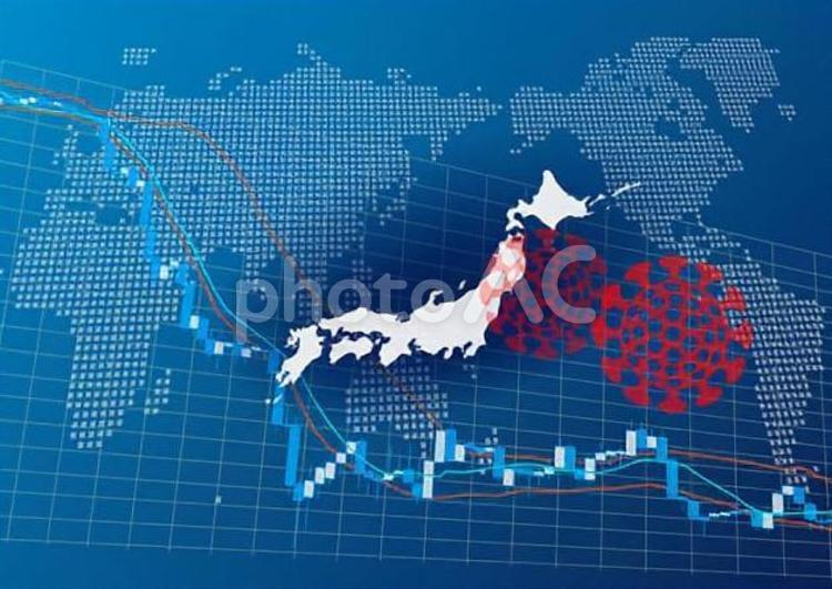 日本経済に影響を与えるコロナウイルスの写真