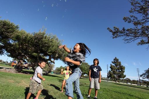 孩子們在美國公園追逐肥皂泡