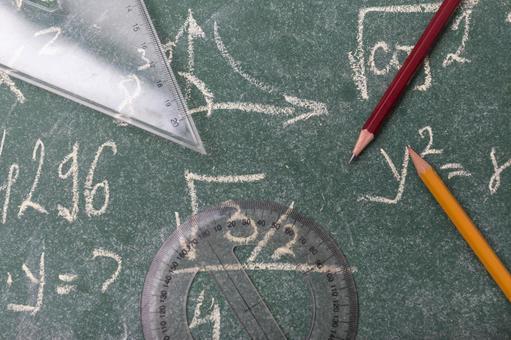 Blackboard, pencil, protractor and triangular ruler