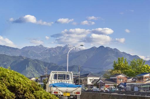 Fishing village and Mt. Ishizuchi 3