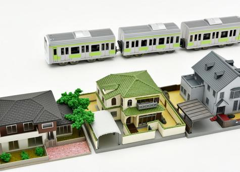 Image of residential area and train