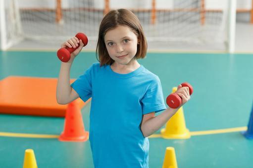 Girl doing muscle training