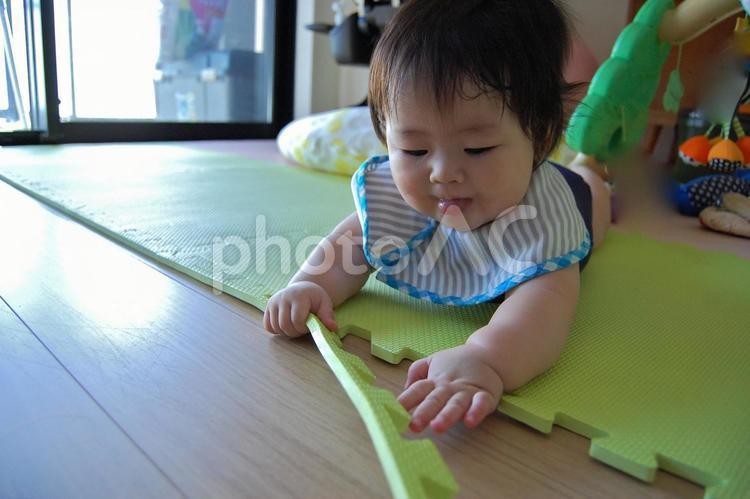 ジョイントマットを剥がす赤ちゃん 2の写真