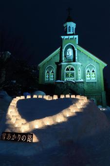 Otaru snow light path (Tomioka church)