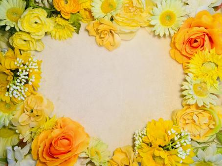 Yellow flower heart frame