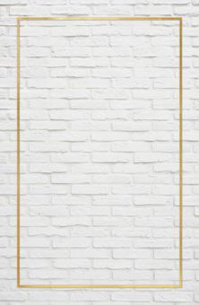 Picture frame & white brick New Year's card background material_gold frame texture