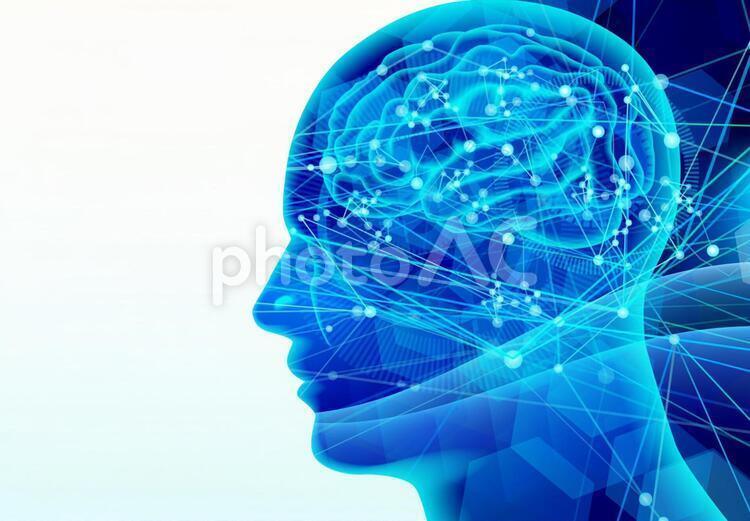 脳の伝達-青い光のイメージコピースペースの写真