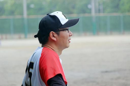 Male person baseball sports glasses