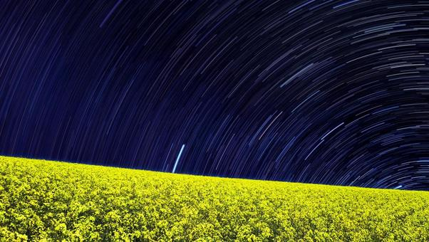 Rape field shining in the night sky Diurnal motion in the northern sky