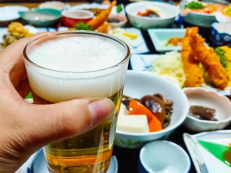 Toast with a glass of beer