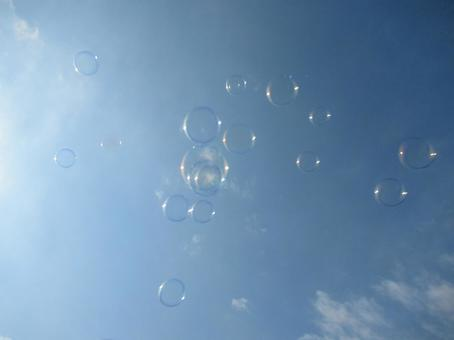 Blue sky and soap bubbles 1