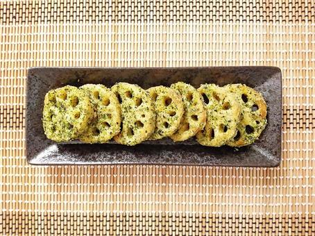 Lotus root green laver grilled picture seen from above