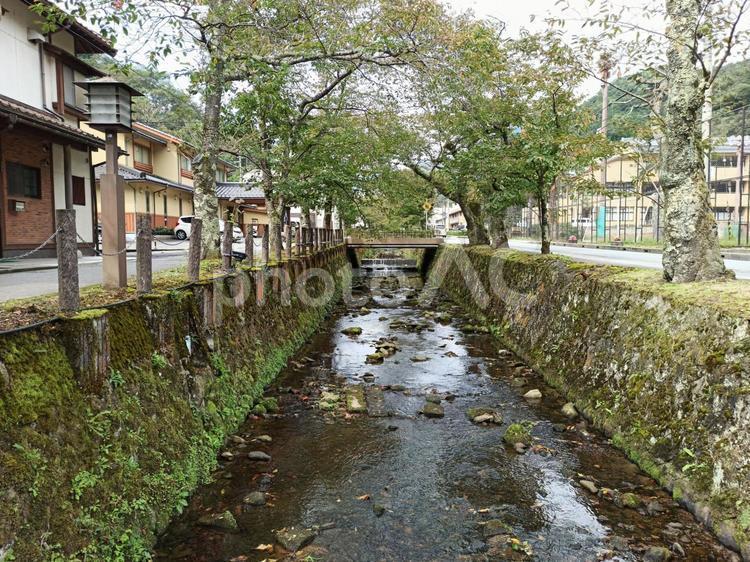 温泉町の川の写真