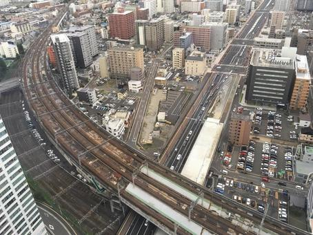 Railroad and cityscape overlooking from above Urban skyscrapers in local cities