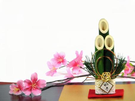 Kadomatsu and cherry blossom New Year's material New Year's cards decorative ornaments Kadomatsu