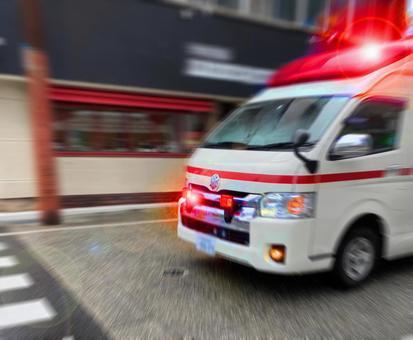 Ambulance on a rainy day