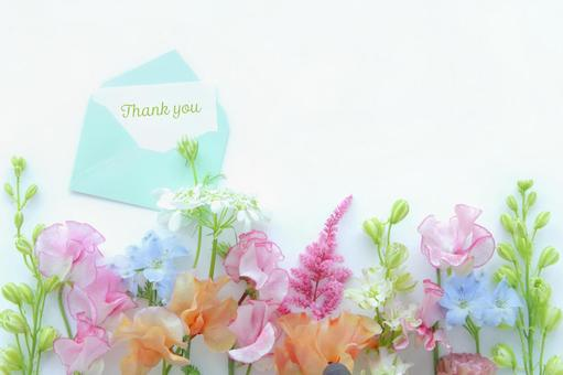 Thank you card and spring flowers