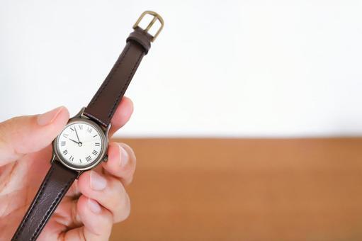 Hand with a wristwatch