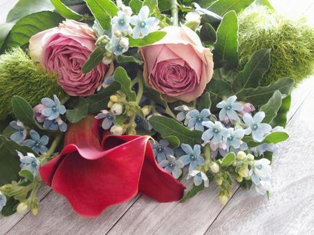 Flower (red color, pink rose, blue star)