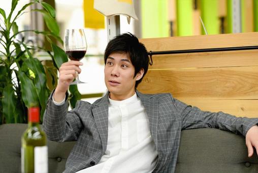 Men drinking wine
