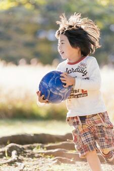 Children playing in autumn park