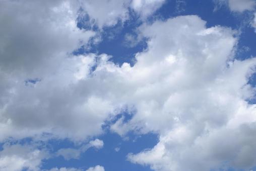 Blue sky between clouds