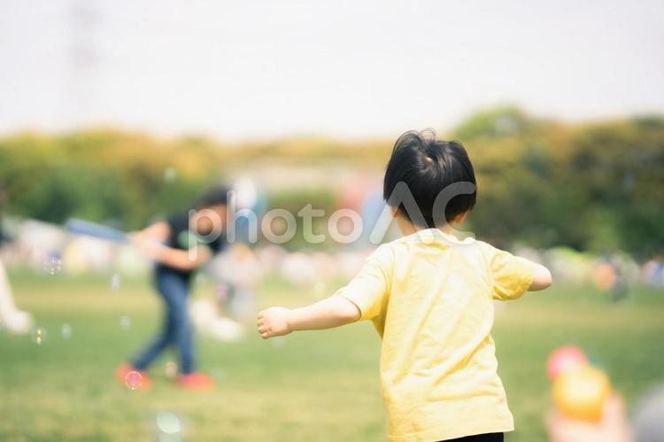 遊ぶ子供の後ろ姿の写真